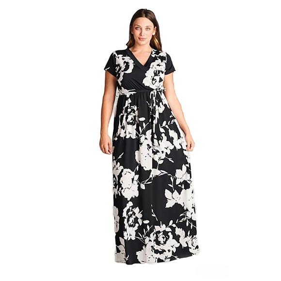 57e9a70e8889d Floral Black White V Neck Faux Wrap Maxi Dress